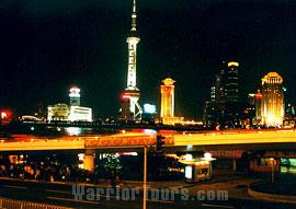 The night scenery of Shanghai.
