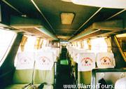 The interior of a tour bus, Yunnan