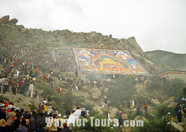 Thangkas of Buddha unfolding, Lhasa