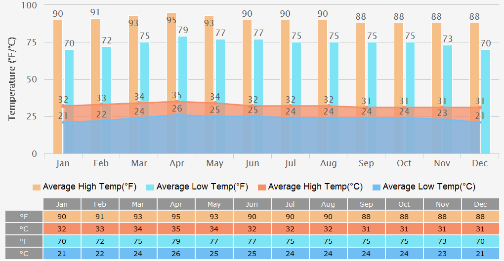Average High/Low Temperatures Graph for Ho chi minh City