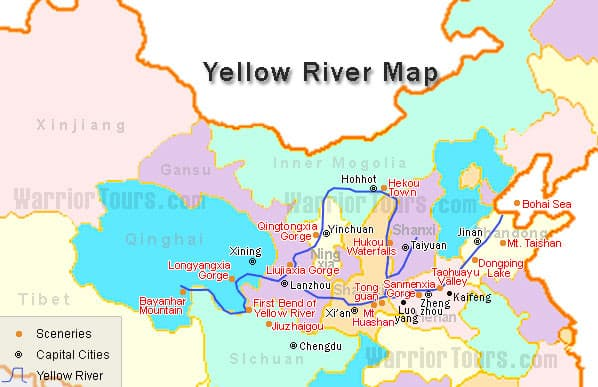 Yellow River On Map Yellow River Map Yellow River On Map