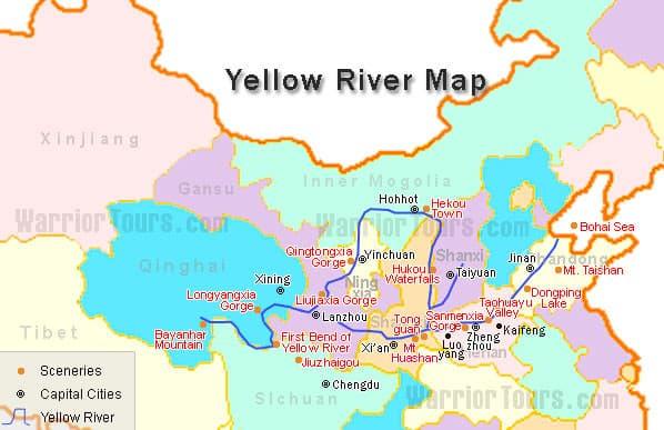 Mapofyellowriverjpg - Yellow river on world map